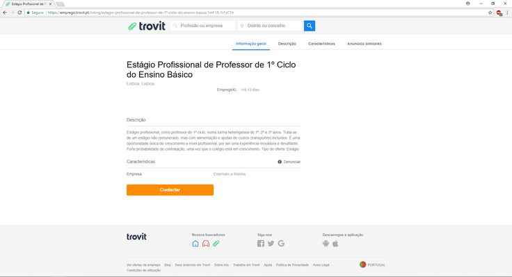 Anúncio publicado pelo Externato A Ritinha. Fonte: https://emprego.trovit.pt/listing/estagio-profissional-de-professor-de-1%C2%BA-ciclo-do-ensino-basico.1mF1R-1t1yC1h