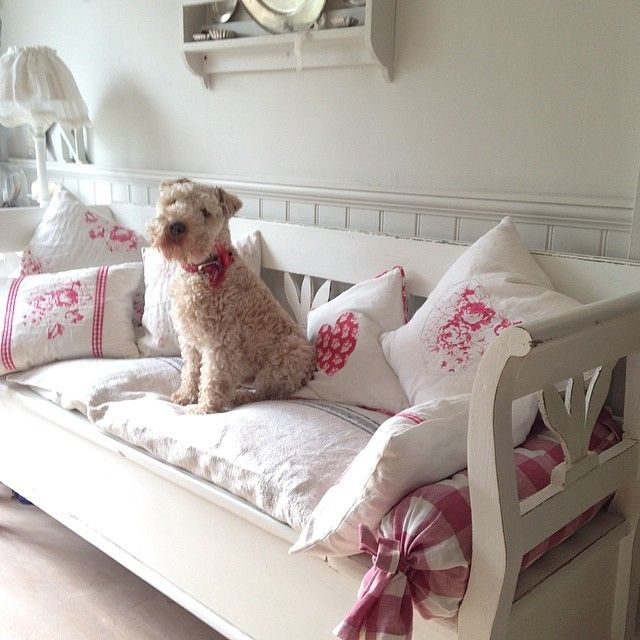 Swedish bench and a terrier!  ~ Lovingly repinned by www.skipperwoodhome.co.uk