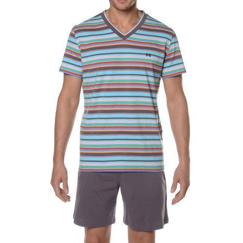 Hom - Hom - Pyjama court Austin à rayures multicolores, short gris Bleu