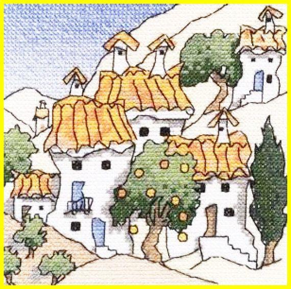 Cross Stitch Pattern MINI SPANISH COTTAGE 6 Michael Powell by TheOldOwl $16.00