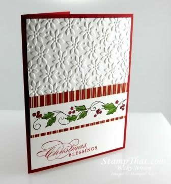 Stampin Up Card Gallery 2012 | Christmas Blessings Handmade Christmas Card - Holly & Berries