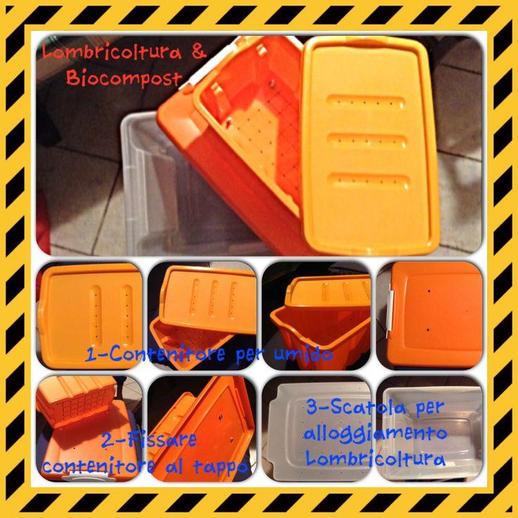 Biocompost:scatola forata nella parte inferiore per garantire la comunicazione tra le due parti e l'areazione tramite il coperchio Lombricoltura:box di dimensioni superiori rispetto al primo,anch'esso forato sulla base.Il coperchio invece viene fissato al Biocompost riportando su di esso i buchi di quest'ultimo