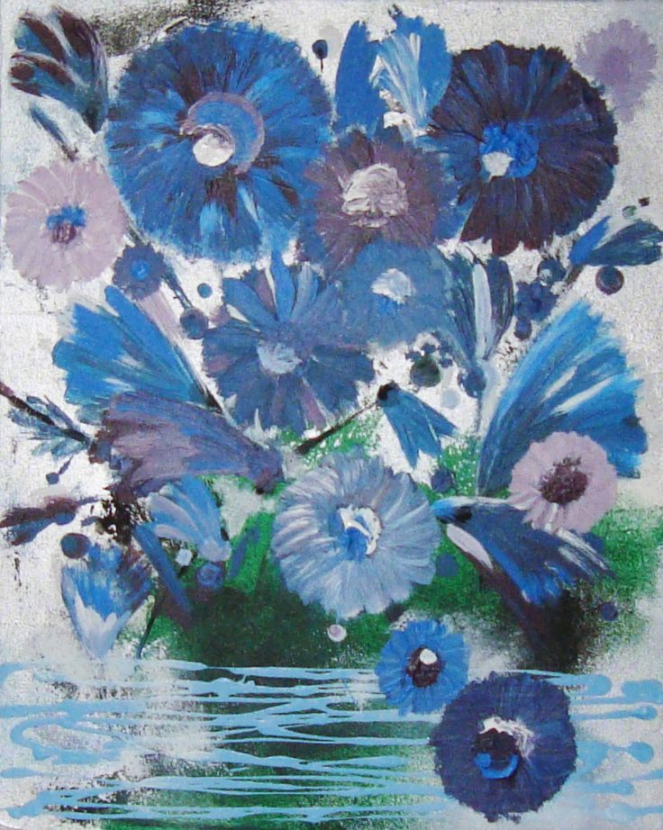 Blues Flower painting contamporary art