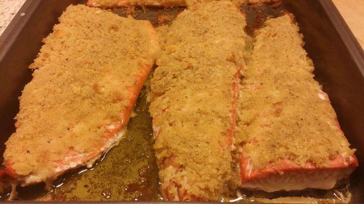 Baked salmon with nice spiced custard
