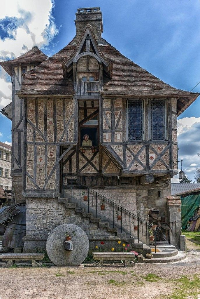 House in Argentan Orne France.  I would love to know more about this house.  Is that half-timbering on the upper story?