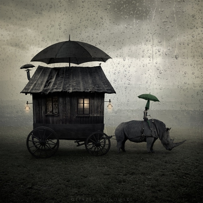 Journey by photographer Leszek Bujnowski: The Journey, The Roads, Leszekbujnowski, Mobiles Home, Leszek Bujnowski, Photo Manipulation, Rhinos, Unusual Art, Night Circus