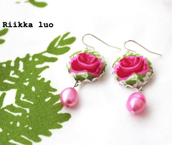 Dangle earrings  Liberty of London fabric by RiikkaLuoDesigns