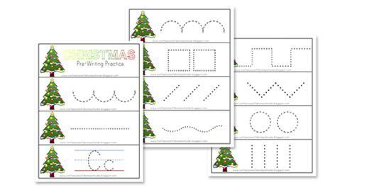 Christmas themed worksheet for pre-writing practice