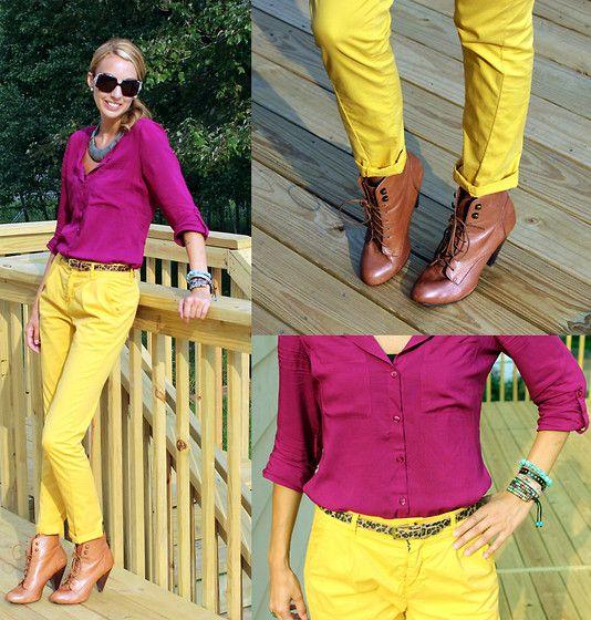 Fuschia top and yellow pants