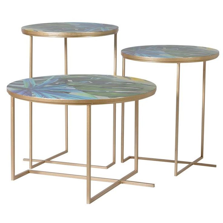 gorgeous set of 3 tropical tables on gold frames £199.99 www.hanaleyinteriors.co.uk