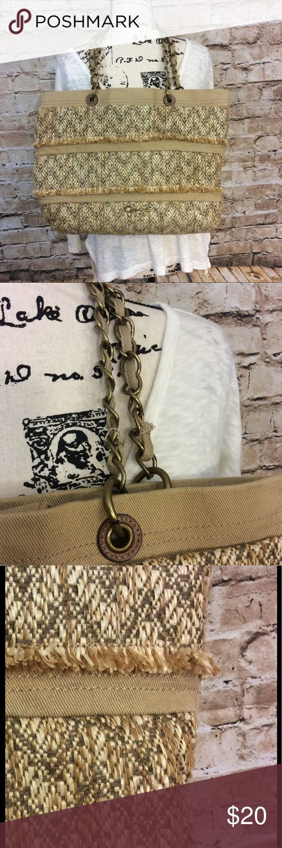 Jessica Simpson large raffia and canvas tote/Purse Jessica Simpson gently used large raffia and canvas tote/purse with brass hardware Zipper pocket inside also pocket for glasses and phone  clean inside  Height of purse is 12 inches Width of purse is 17 inches Depth of purse is 4 1/2 inches Length of shoulder strap is 10 1/2 inch Snap closure on top This is a nice play purse great for summer going to the beach or just as your everyday person Jessica Simpson Bags Shoulder Bags