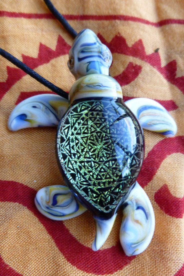 Dichroic Lampwork Glass Pendant Sea Turtle by Malamandala on Etsy