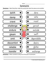Synonyms Worksheet 1