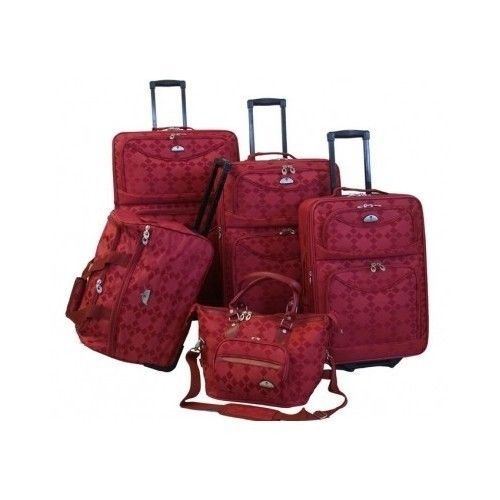 5Pc-Red-Luggage-Set-American-Flyer-Travel-Bags-Hotel-Resort-Baggage-CarryOn-Cart