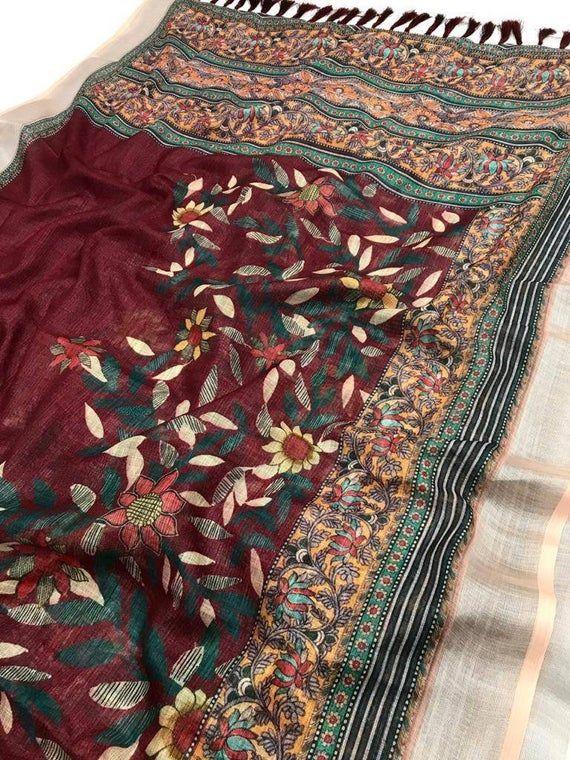 Multicolor soft kalamkari linen saree and blouse for women,wedding saree,indian saree,designer saree,saree dress,traditional saree,saris.