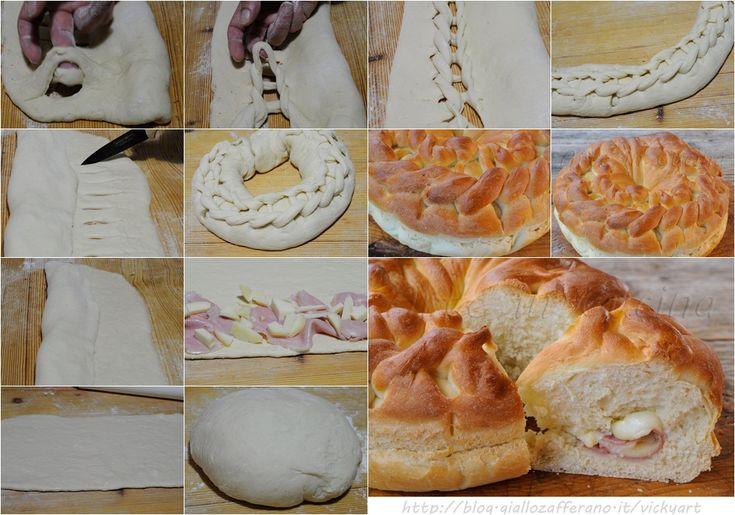 Ciambella intrecciata di pan brioche salata vickyart arte in cucina