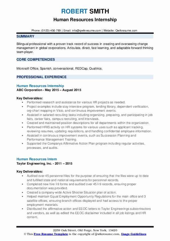 Human Resources Intern Resume Inspirational Human Resources Intern Resume Samples In 2020 Job Resume Samples Resume Examples Server Resume