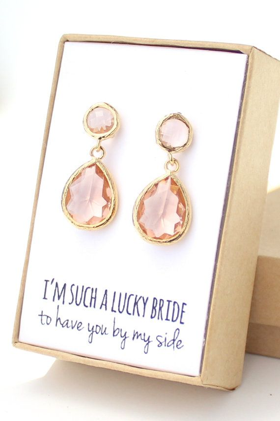 Peach Champagne / Gold Two Piece Teardrop Post by ForTheMaids