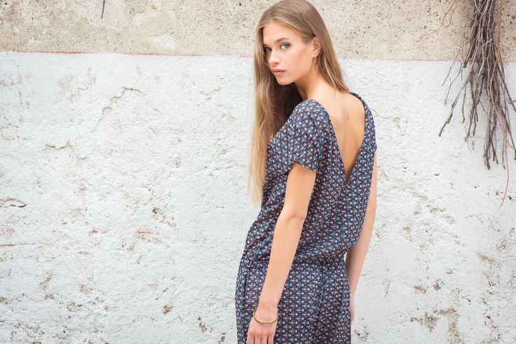Mia Overall Small Flower Print, Washed Black.