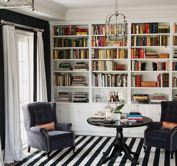 Diane Bergeron Interiors: Blue & white office den design with blue walls paint color, blue velvet tufted wingback ...