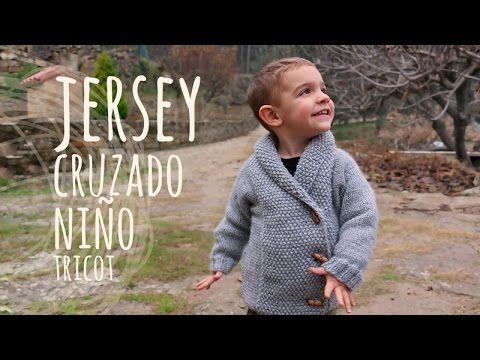 Tutorial Jersey Niño Cruzado Fácil Tricot   Dos agujas - YouTube