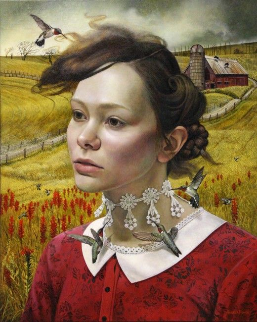 Andrea Kowch - Her Thoughts They Hum / 30x24