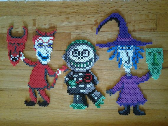 This listing includes one Lock, one Shock and one Barrel perler from Nightmare Before Christmas. Lock measures 7.12 wide and 9.8 long, Shock measures 7.12 wide and 12 long, and Barrel measures 5.4 wide and 8.2 long. Each is ironed on both sides for sturdiness. This perler is made to order, so please keep in mind it will take me 1-3 business days to make it. I also do commissions, so if you are interested in a different Nightmare Before Christmas or Tim Burton perler feel free to message me.