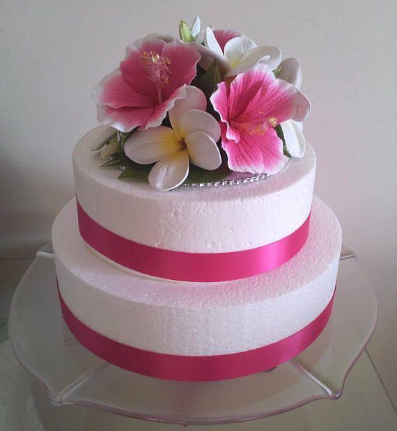 Hibiscus Plumeria Frangipani Cake Topper Silk Flower Choice Of Hibiscus Cake Cake Decorating Cake Toppers
