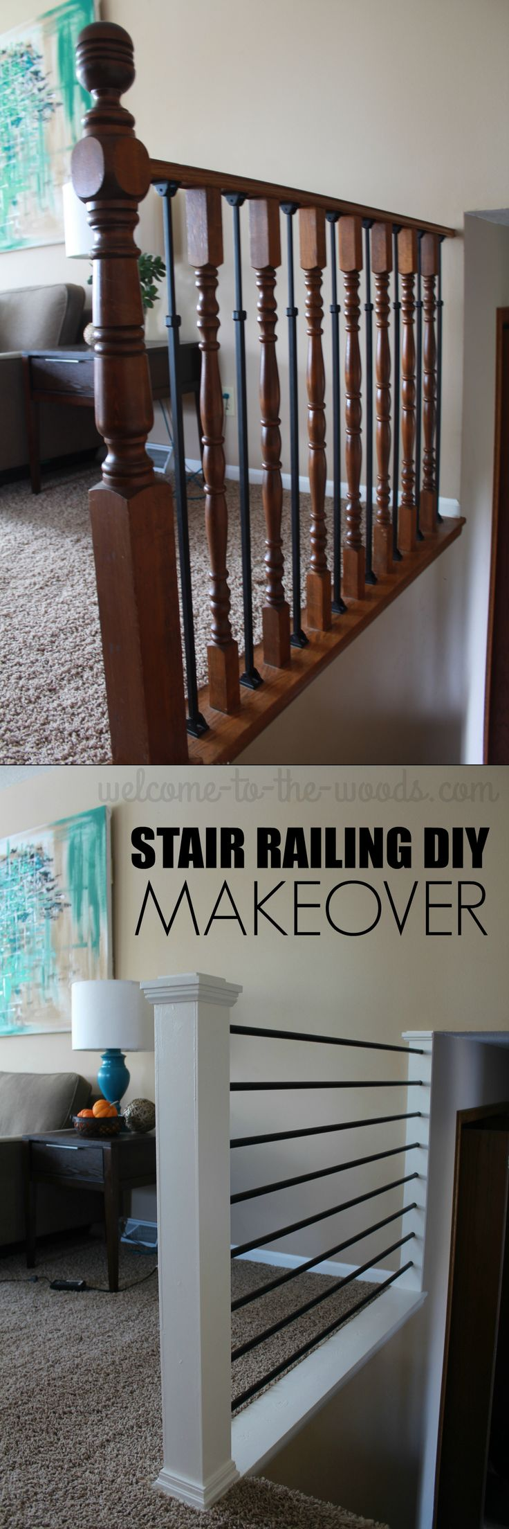 Before and After Stair Railing DIY Makeover. This mommy blogger transformed an outdated oak baluster into a sleek, modern design!