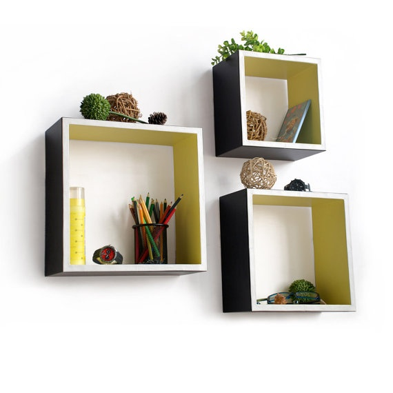 Carbon Black Square Leather Wall Shelf Bookshelf By