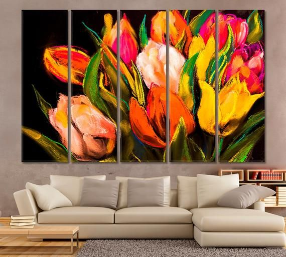 Abstract Bouquet Art Floral Wall Decor Flower Canvas Print Etsy Floral Wall Decor Modern Painting Flower Wall Decor