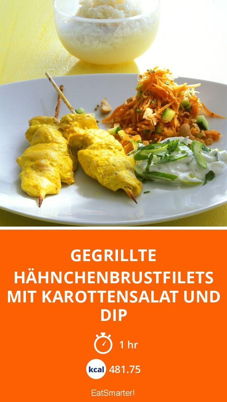 Gegrillte Hähnchenbrustfilets mit Karottensalat und Dip - perfekt für low carb Grillen geeignet - Kalorien: 481.75 Kcal