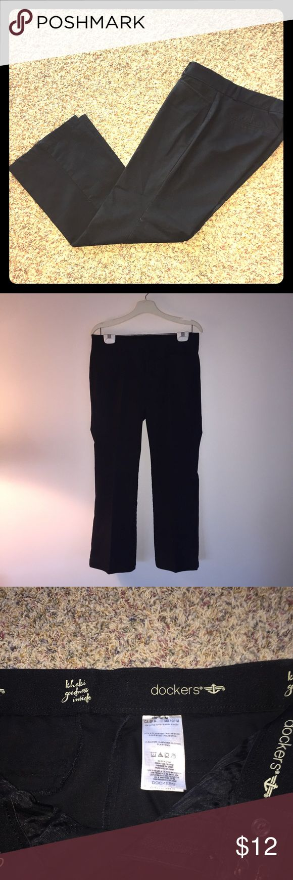 LIKE NEW- Dockers Black Khakis Black Khakis from Dockers, includes stretchy elastic waistband. 60% cotton, 37% polyester and 3 % elastane , straight leg fit. Dockers Pants Straight Leg