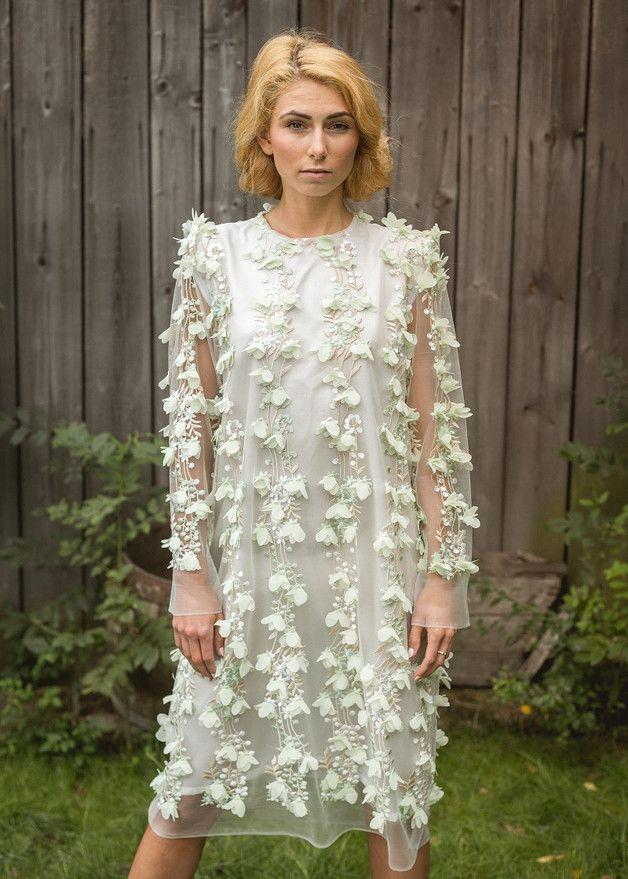 2005affeab7176 SUKIENKA W ZIELONE KWIATY 3D - Suknie wieczorowe - Sukienki - Stworzone z  miłością w Oświęcim