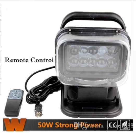 Super Bright 1Pcs 7in 50W LED Work Light Rotating Wireless Remote Control LED Search Light with CREE Chips for All Cars - $175.99