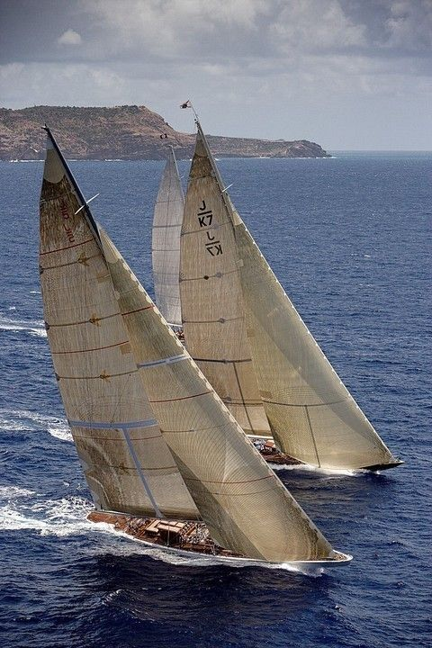 Two J class yachts head to head
