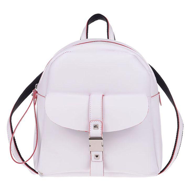 ΤΣΑΝΤΑ PIERRO 00173 ΛΕΥΚΟ   Τσάντα πλάτης με εξωτερικό μπροστινό τσεπάκι,  διακοσμητική κλειδαριά και πίσω τσέπη με φερμουάρ.  Ύψος29  Πλάτος27