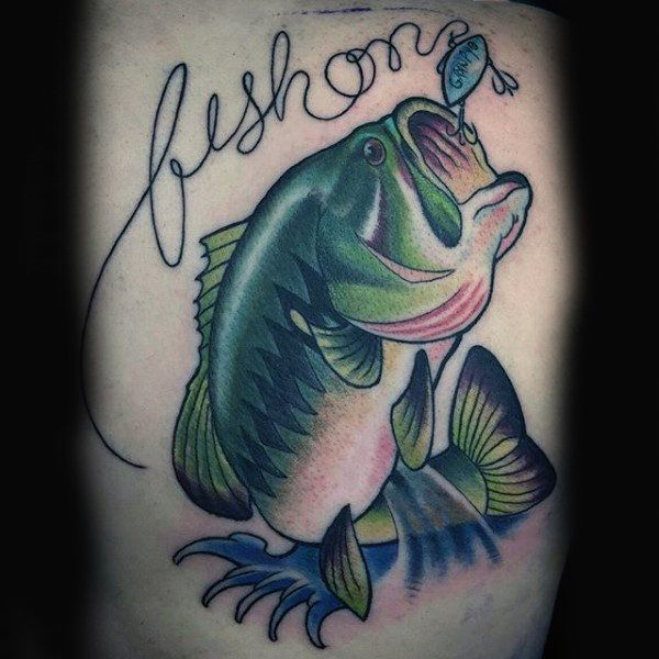 75 Bass Tattoo Designs For Men Sea Fairing Ink Ideas Bass Fishing Tattoo Fish Drawings Bass Fishing Tackle