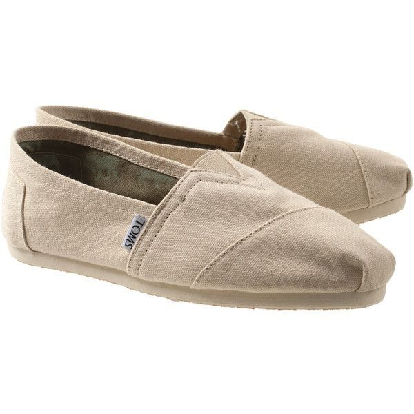 TOMS Canvas Light Beige Canvas-slipper ($64) ❤ liked on Polyvore featuring shoes, toms, flats, american shoes, flat pumps, toms shoes, stretch canvas shoes and beige flats