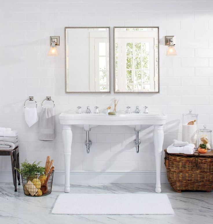 Bathroom: Cool Bathroom Sinks Using Victorian Interior Design Double Pedestal Sink And Rectangular Shaped Mirrors For Victorian…