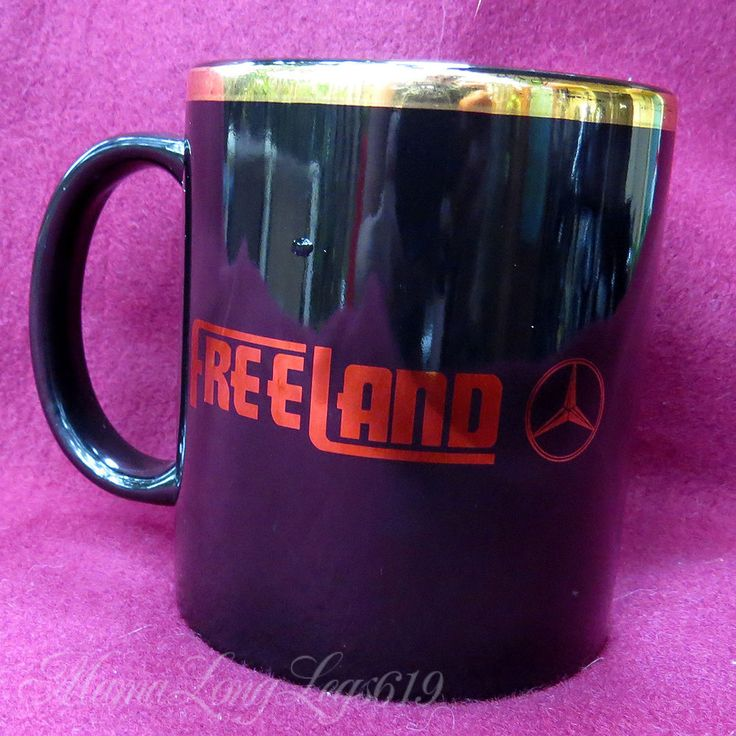 PROMO Freeland Mercedes Dealership Coffee Mug Cup Gold Trim Cedes Emblem