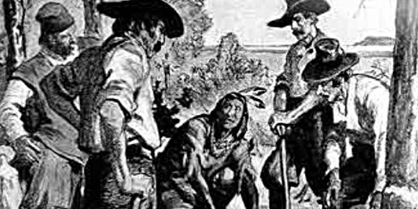 Squanto demonstrating how to plant corn