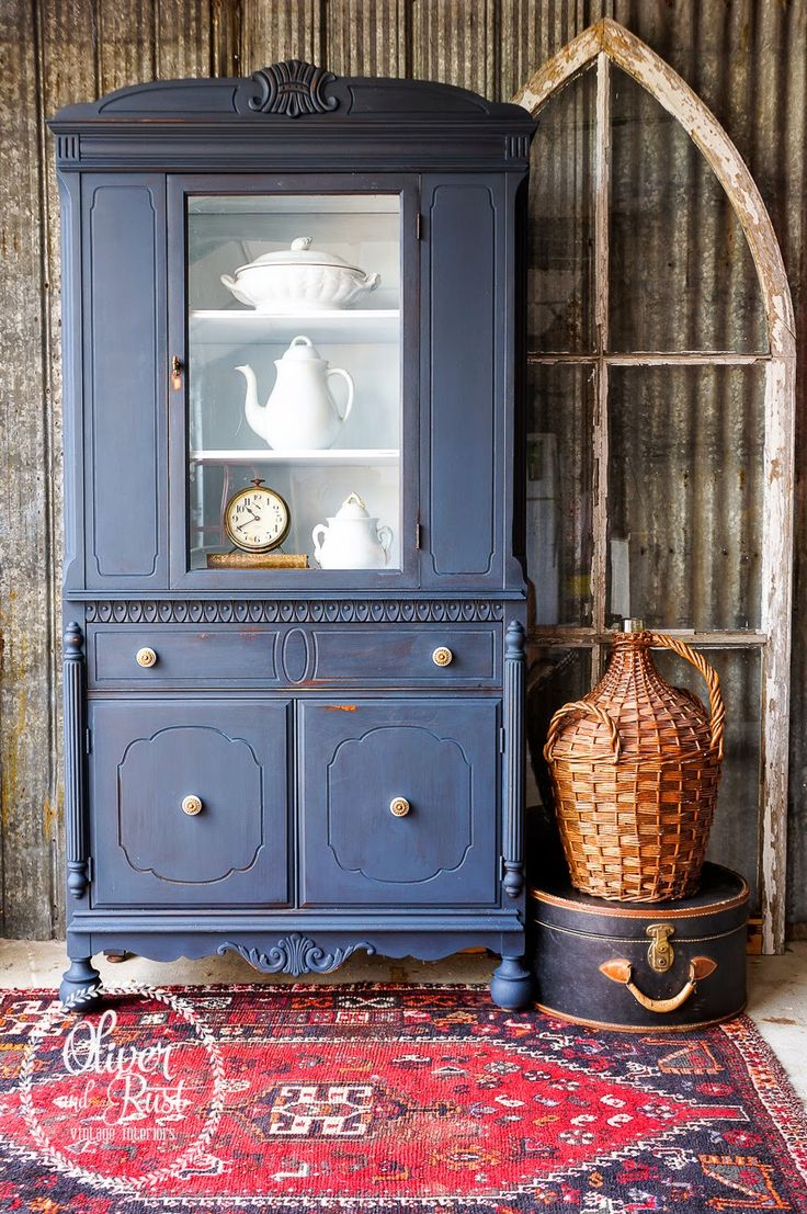 Oliver and Rust || #missmustardseed #milkpaint in #artissimo with brass and white hardware on an antique china cabinet