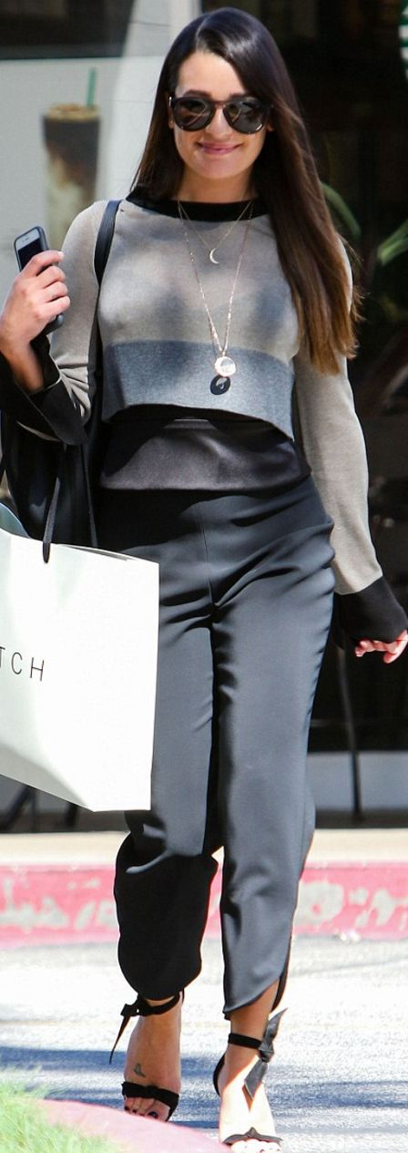 Lea Michele in Shirt – Soyer Pants – Cushnie et Ochs Shoes – Alexandre Birman Sunglasses – Westward Leaning