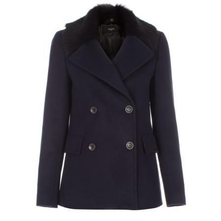Paul Smith Women's Coats - Navy Wool Double-Breasted Sheepskin Collar Peacoat