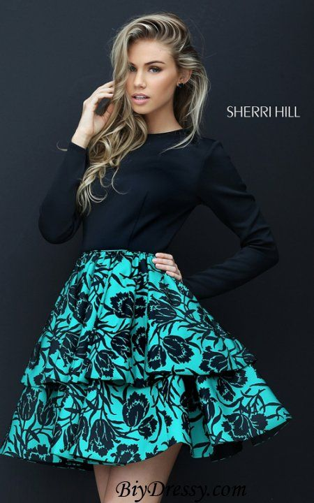 Long Sleeve Sherri Hill 50559 Black Emerald Homecoming Dress