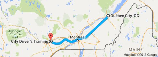 From: Québec City, QC, Canada To: City Driver's Training, 595 Montreal Road, Ottawa, ON K1K 4L2, Canada