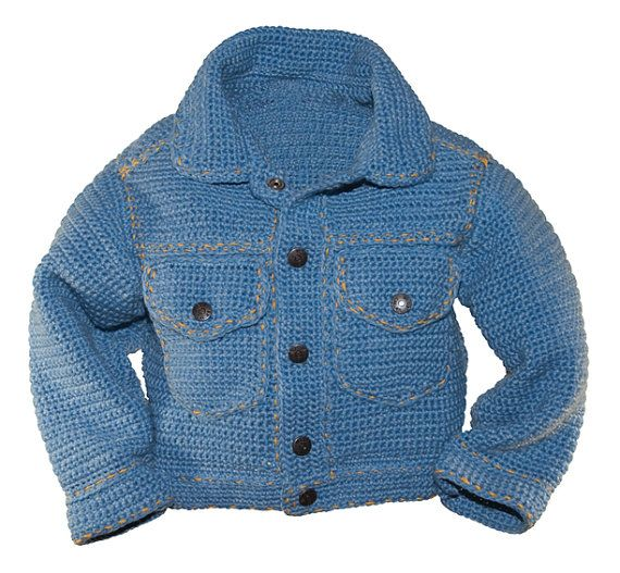 "Jean Jacket Crochet Pattern | Baby Boy Crochet Pattern | Baby Crochet Patterns | Crochet Jacket Patterns  Inspired by James Dean and the classic denim jacket…This darling crochet version will put the ""cool"" into any child's wardrobe.  PERMISSION TO SELL ITEMS MADE FROM THIS PATTERN. (see below)  Crochet Pattern: sizes 12 mo to 6 yrs.  This easy to crochet jacket will be the envy of your friends. They won't believe you actually crocheted it! The contemporary design and extraordinary detail…"