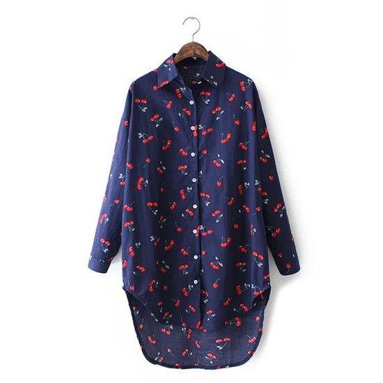Женщины марка одежды вишня печатный длинные мода свободного покроя асимметричная длина блузка лето весна осень топы для нее купить на AliExpress