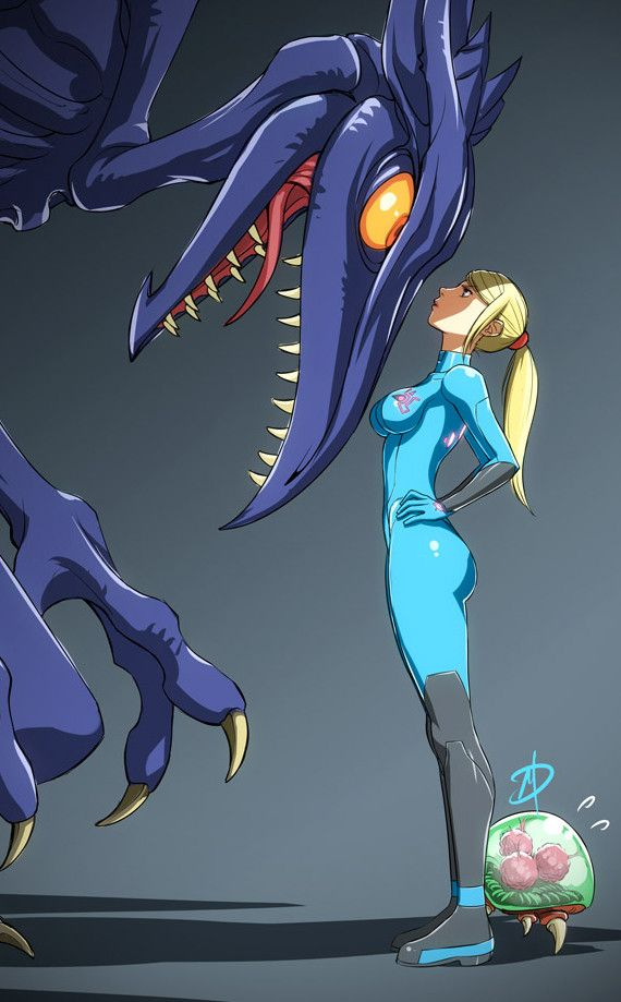 Metroid, Samus vs. Ridley by Polarityplus
